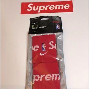 Supreme x NBA Red Basketball Wristbands New